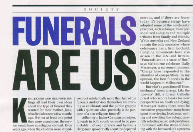 Time Magazine article - Funerals are us